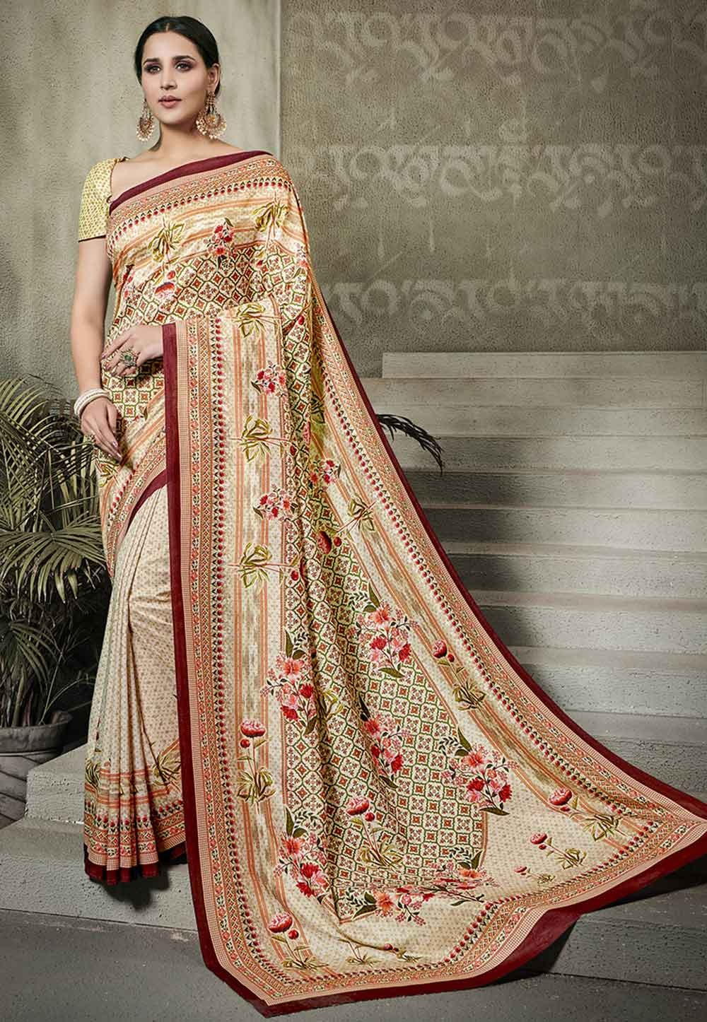 Peach Colour Traditional Saree.