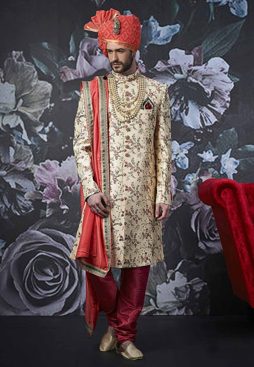 Beige Colour Indian Men's Wear Sherwani.