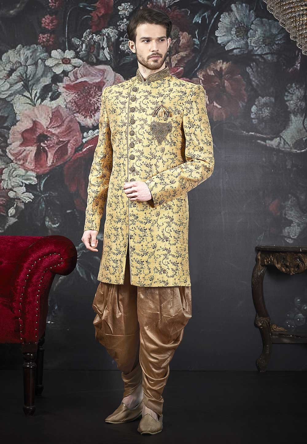 Golden Colour Brocade Silk Men's Indowestern.