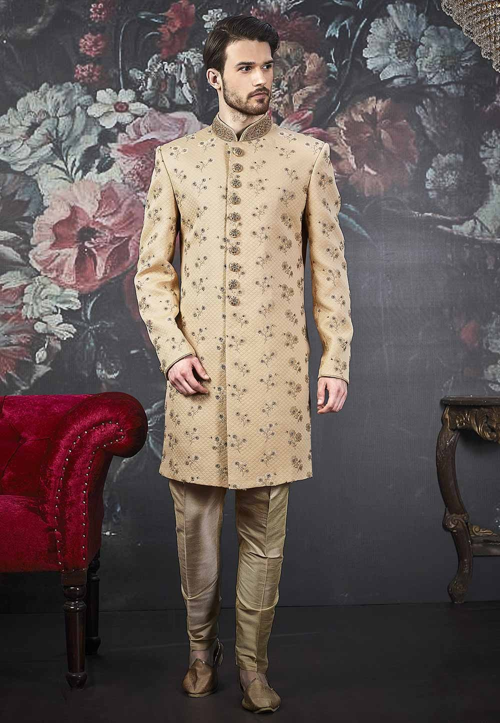 Beige Colour Designer Men's Indowestern.