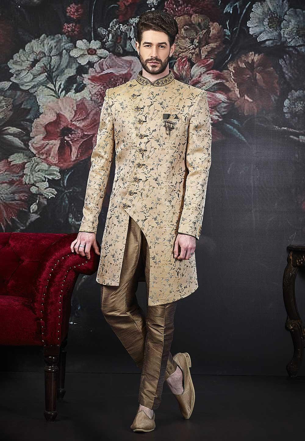 Beige Colour Stylish Indowestern for Men.