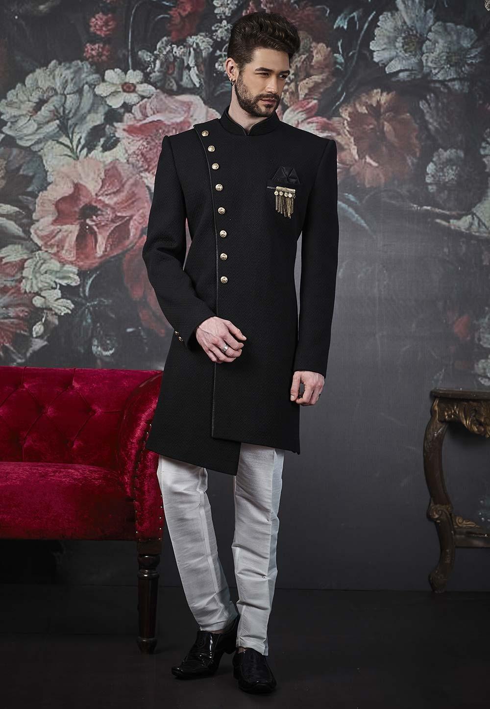 Black Colour Men's Designer Indowestern.