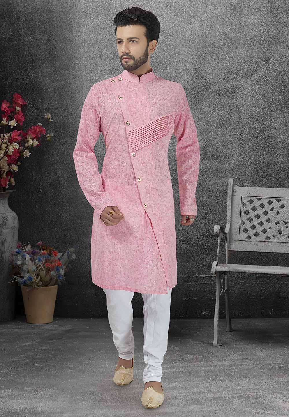 Pink Colour Party Wear Kurta Pajama.