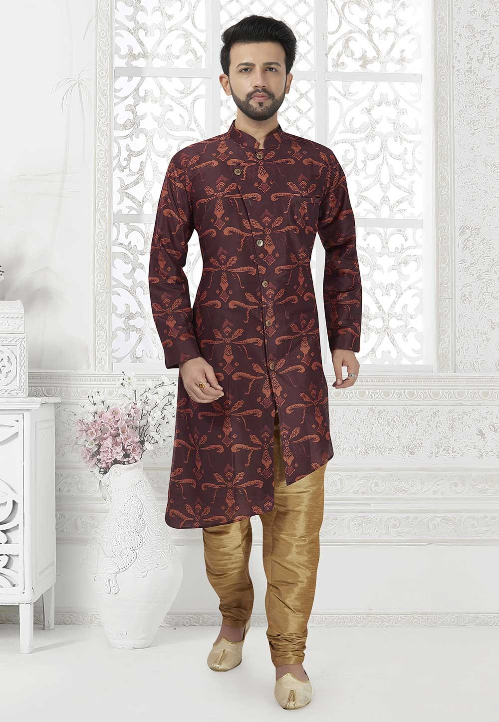 Wine Colour Art Silk Designer Kurta Pajama.