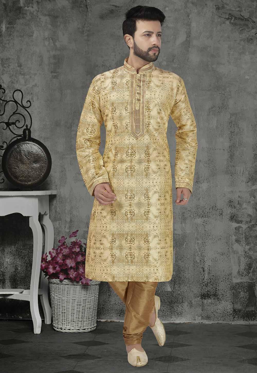 Beige Colour Banarasi Silk Kurta Pajama.
