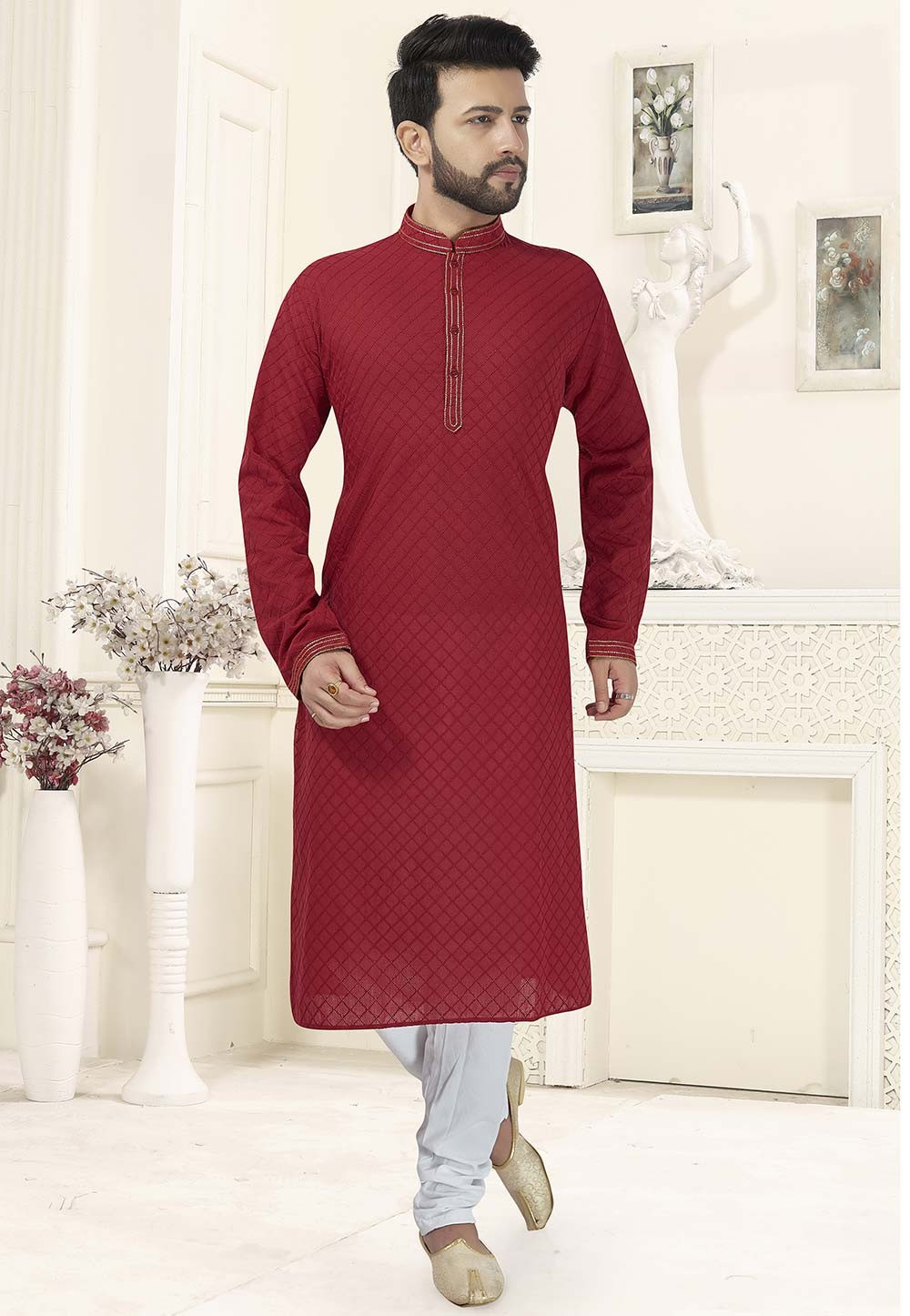 Red Colour Indian Wedding Kurta Pajama.