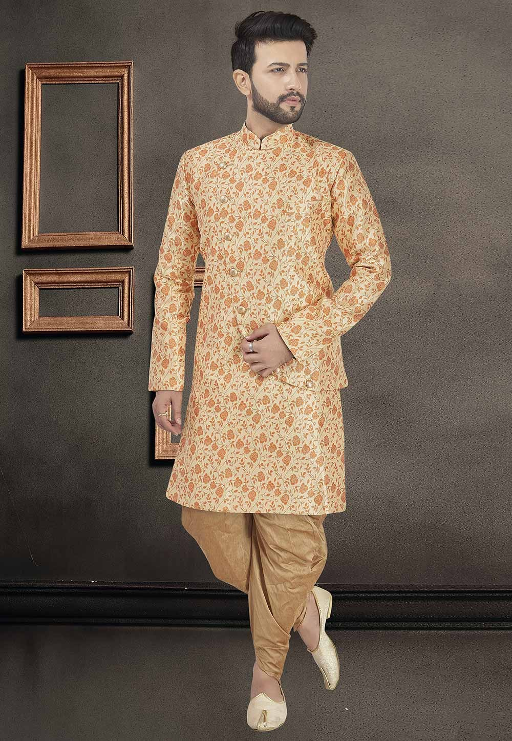 Beige Colour Silk Men's Indowestern.