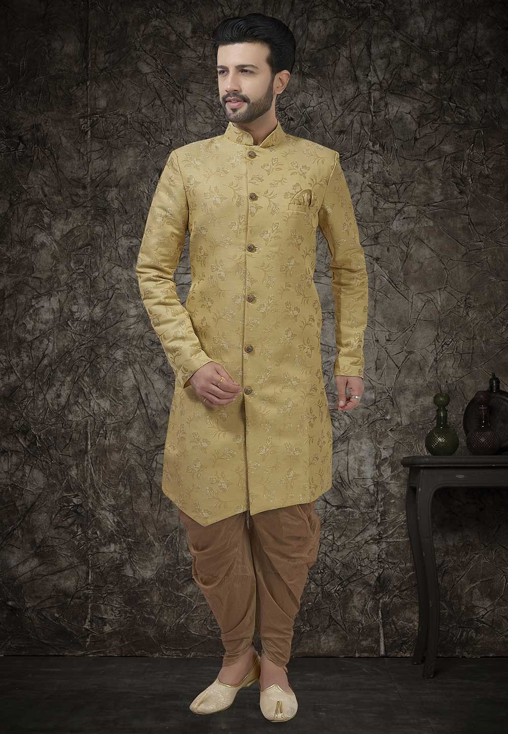 Beige Colour Engagement Men's Indowestern.