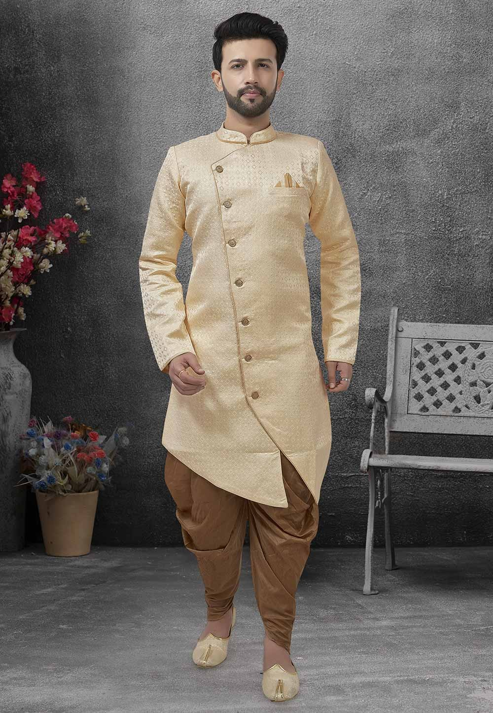 Men's Designer Indowestern Beige Colour.