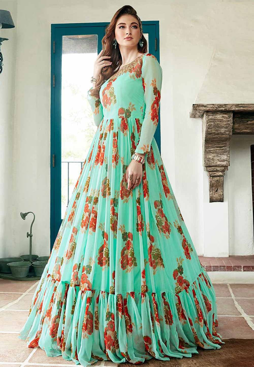 Green Colour Designer Indowestern Gown.