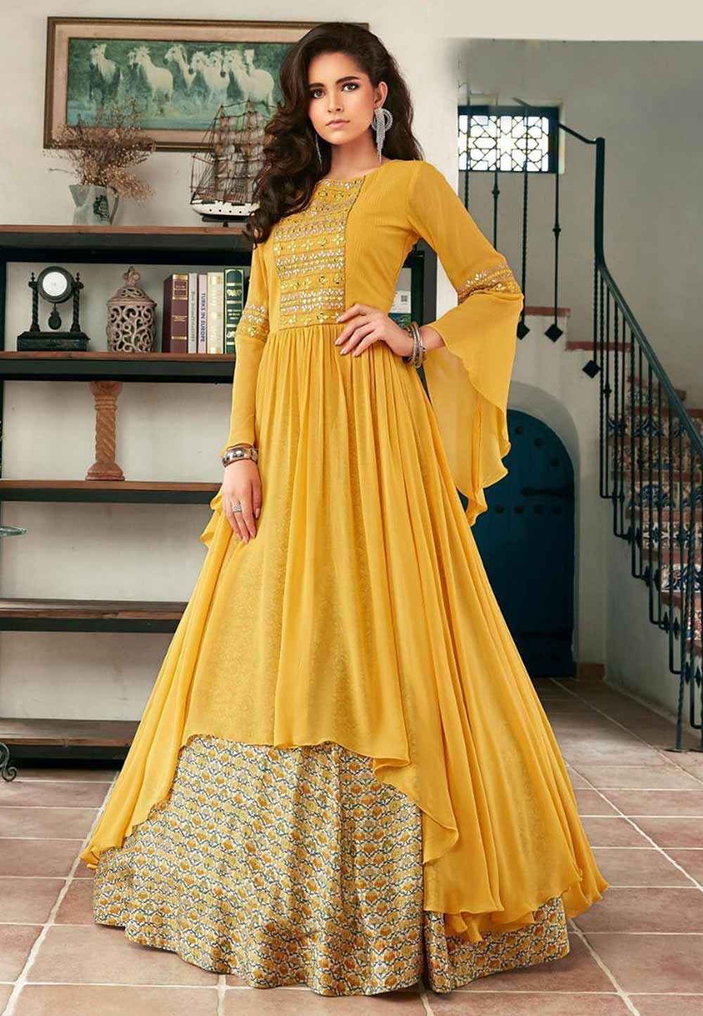 Yellow Colour Indowestern Gown.