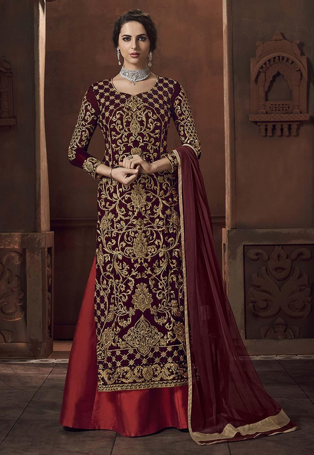 Maroon Colour Indian Designer Salwar Suit.