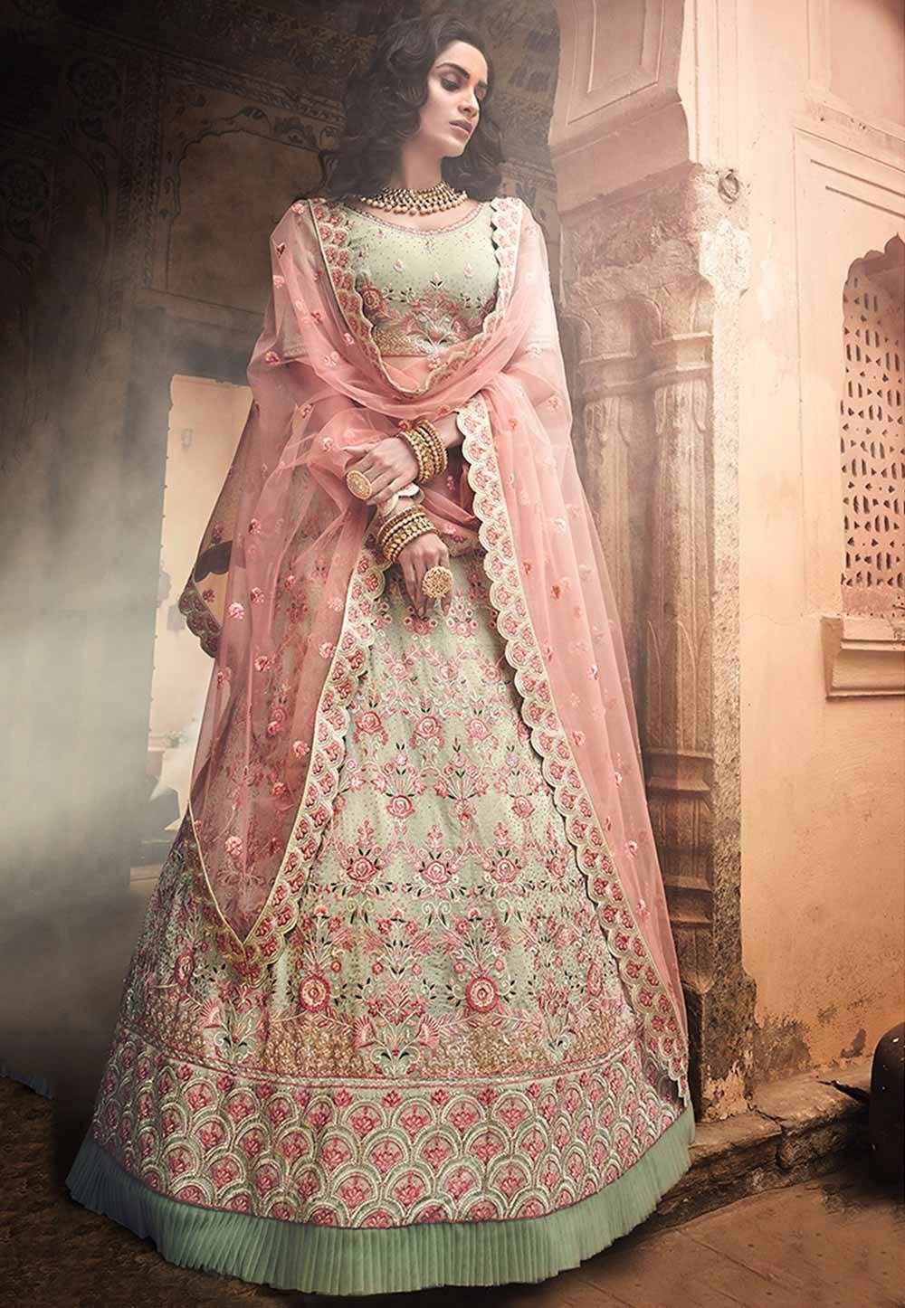 Indian Designer Lehenga Choli Pista Green Colour.