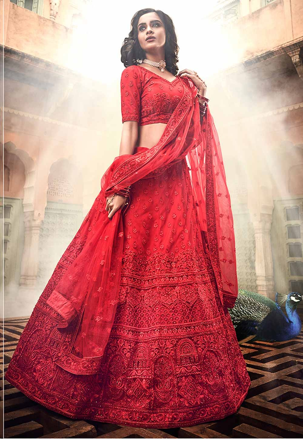 Red Colour Indian Wedding Lehenga Choli.