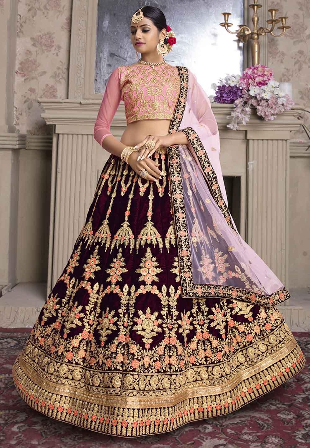 Maroon Colour Designer Velvet Lehenga Choli.