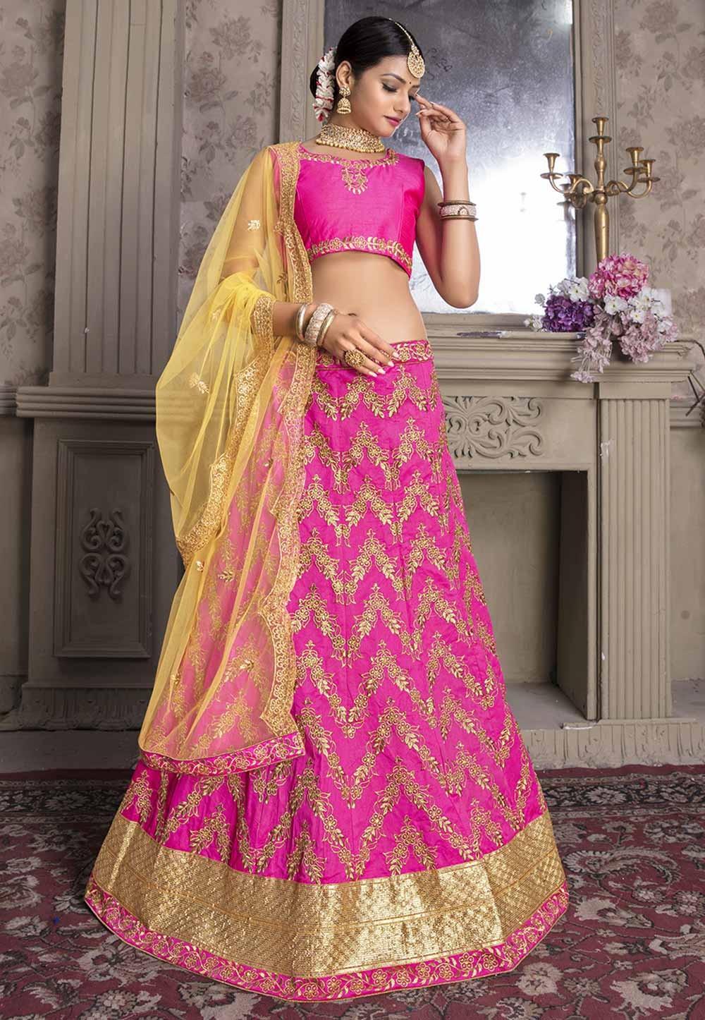 Rani Pink Colour Wedding Lehenga Choli.