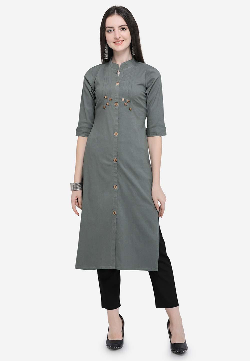 Grey Colour Casual Kurti.