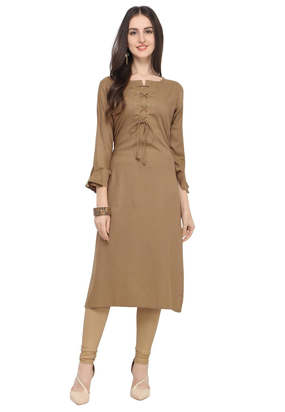 Brown Colour Readymade Kurti.