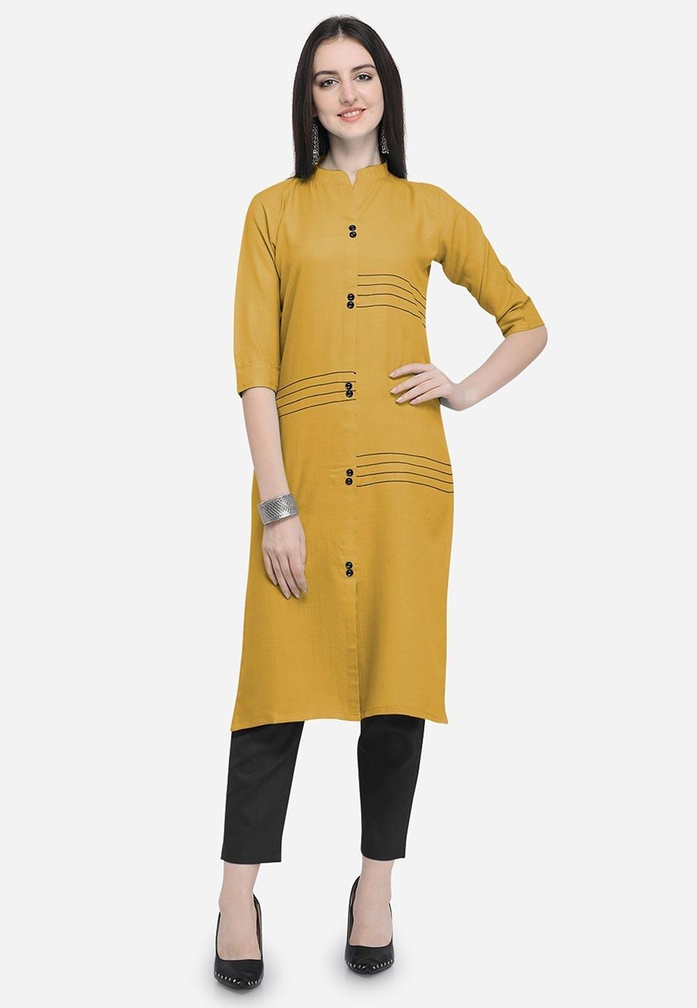 Yellow Colour Cotton Readymade Kurti.