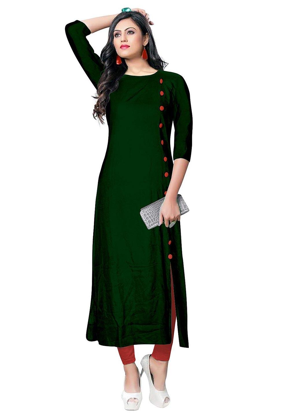 Green Colour Cotton Designer Kurti.