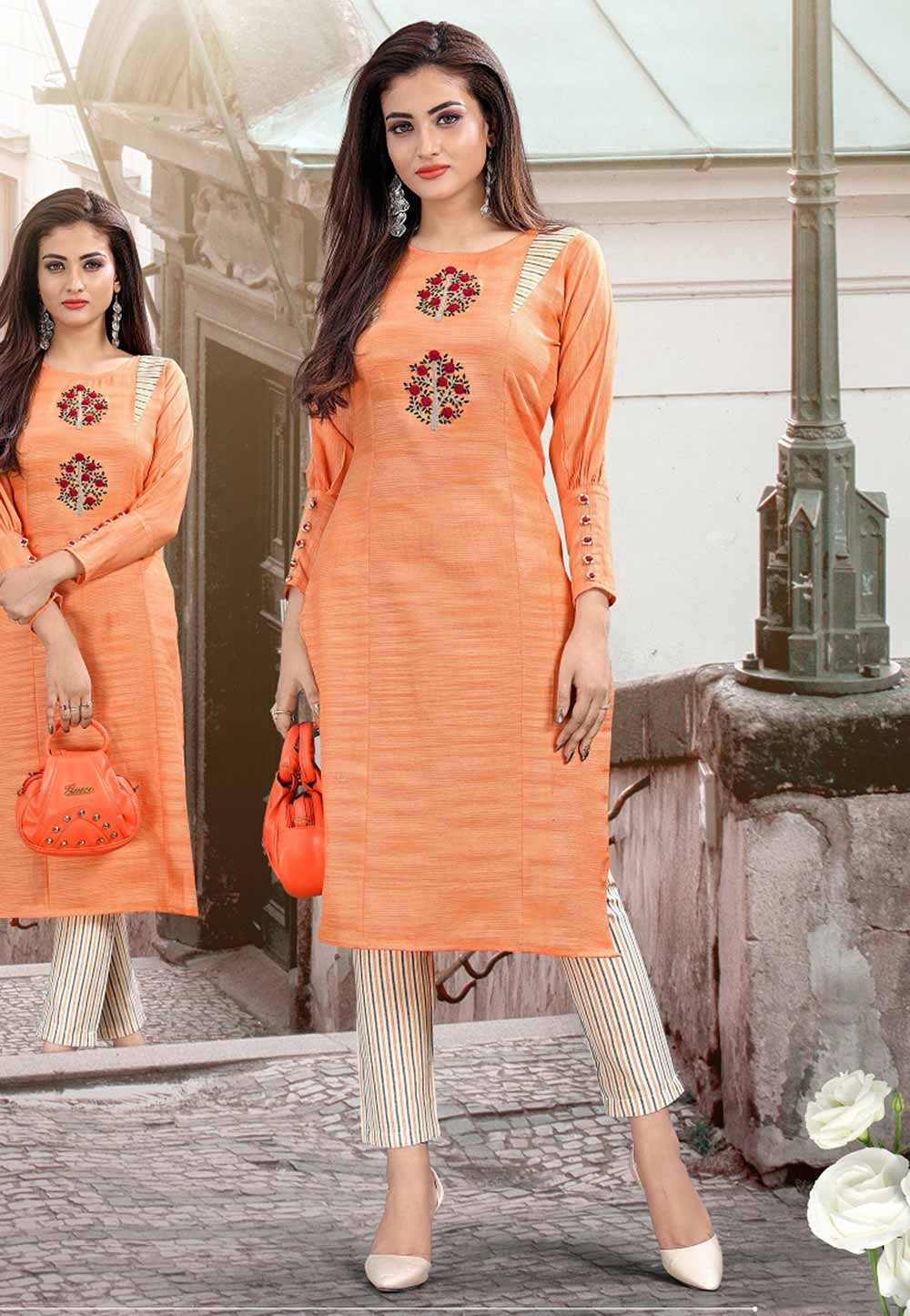 Orange Colour Cotton Designer Kurti.