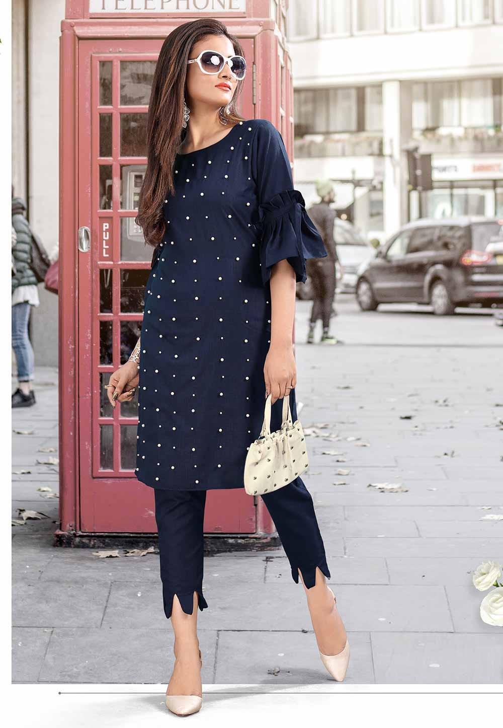 Navy Blue Colour Embroidery Kurti.