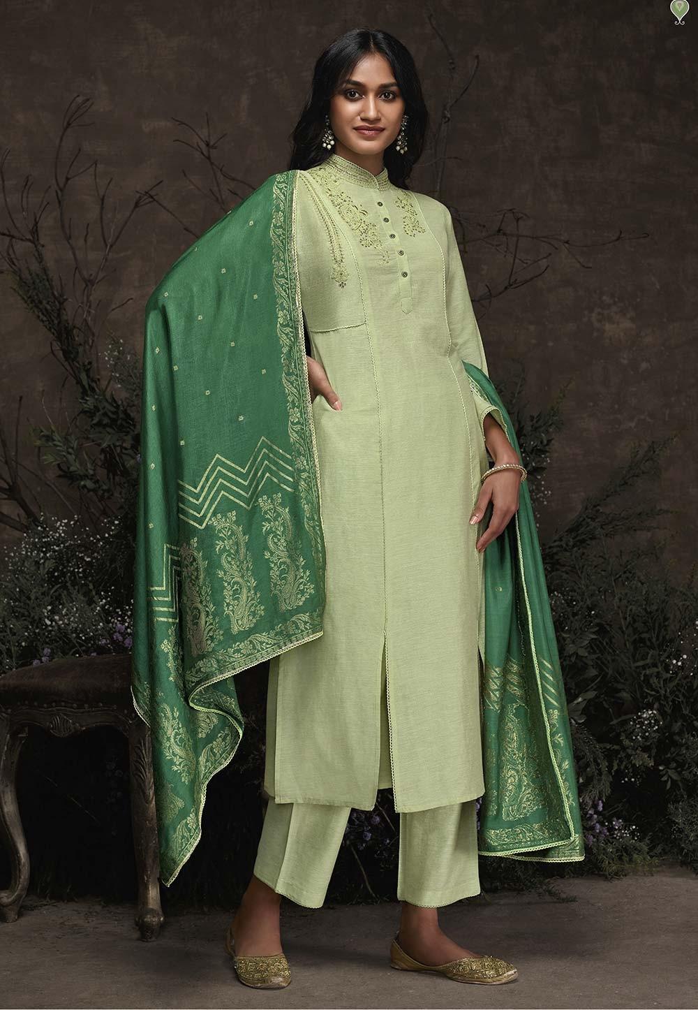Light Green Colour Party Wear Salwar Kameez.