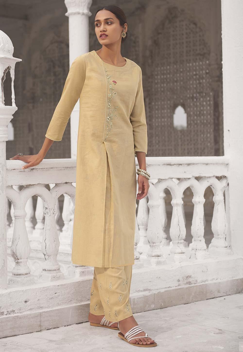Light Yellow Colour Designer Kurti.