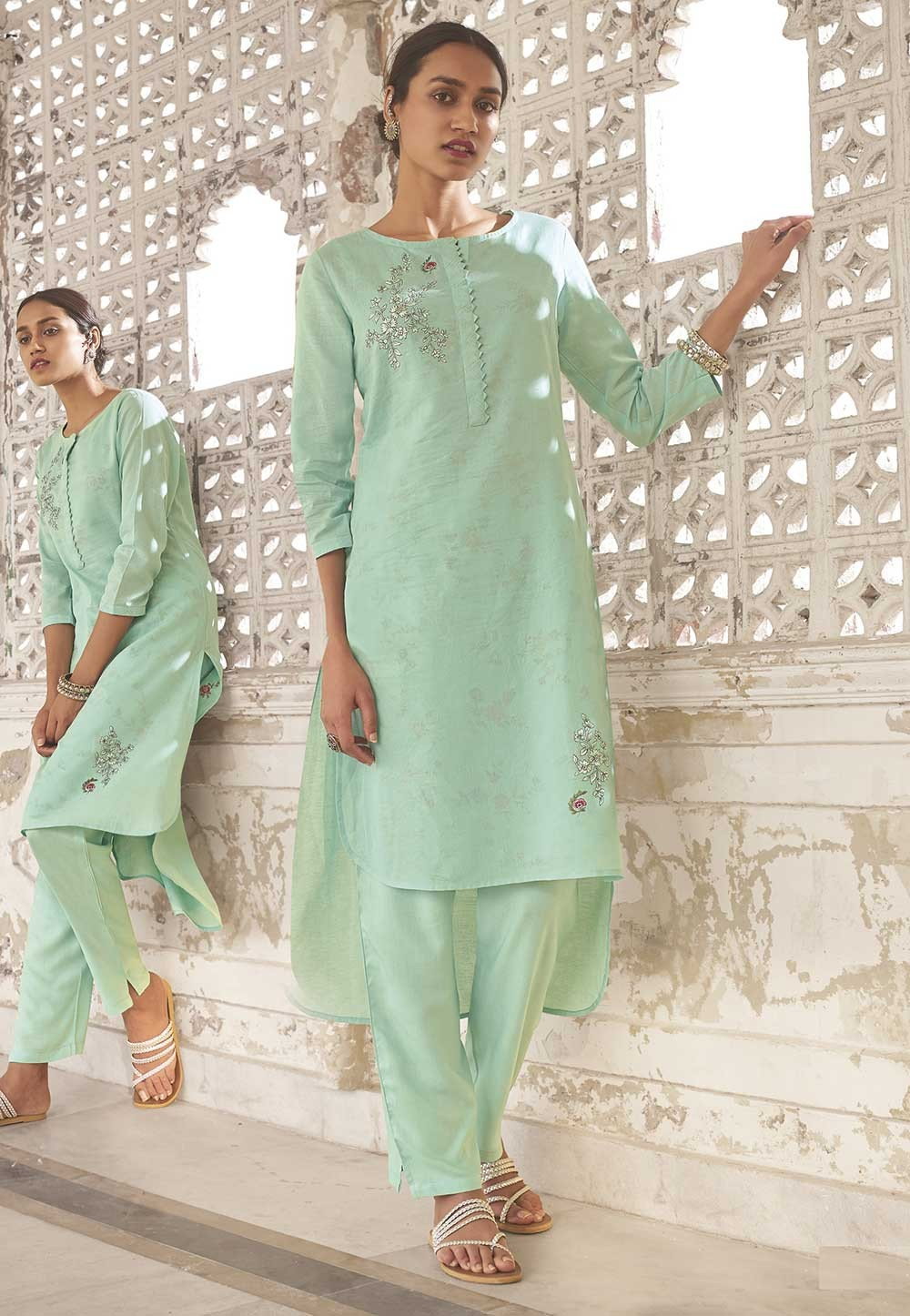 Turquoise Colour Readyamde Kurti.