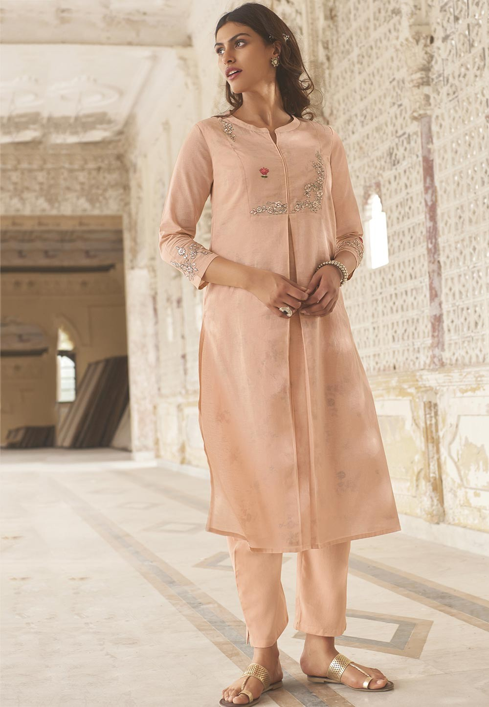 Pink Colour Linen,Cotton Designer Kurti.