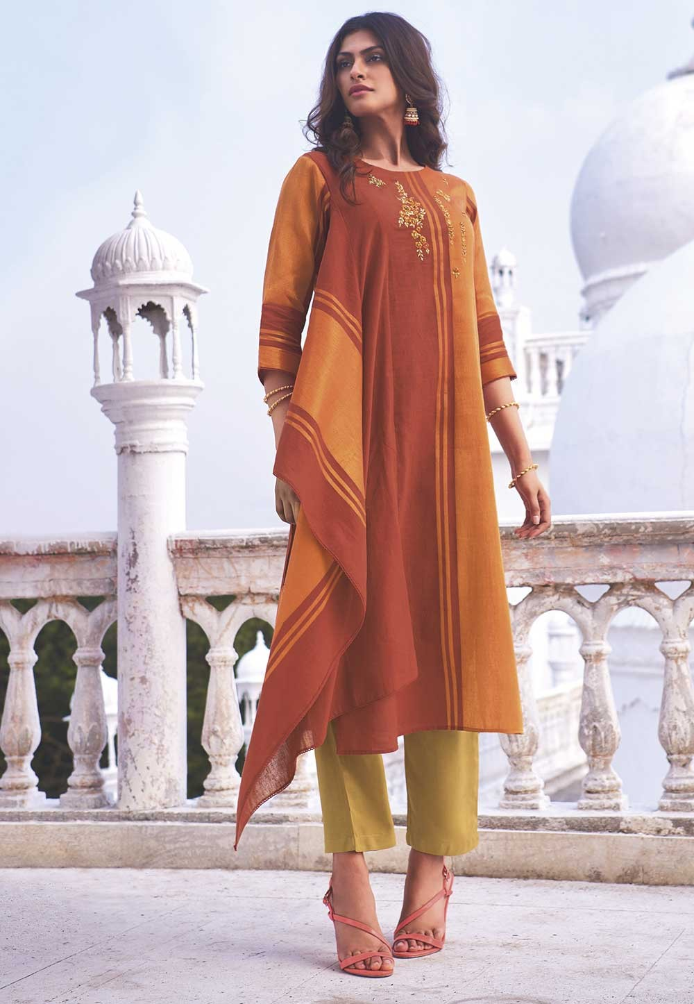 Orange Colour Stylish Designer Kurti.