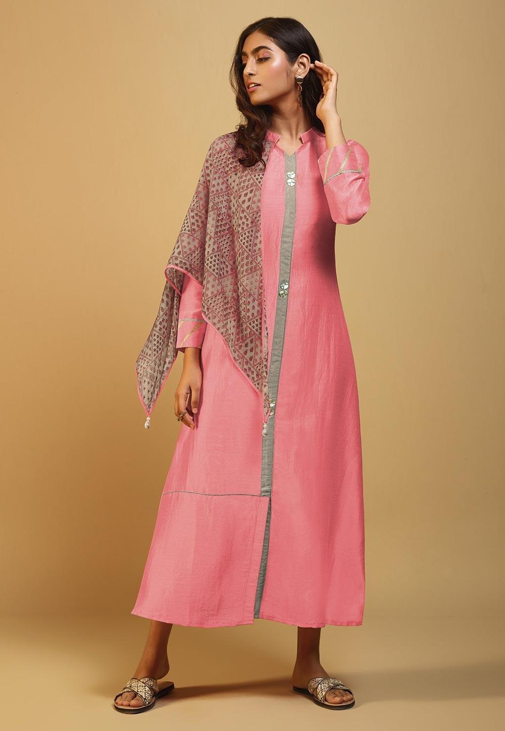 Pink Colour Silk Designer Kurti.