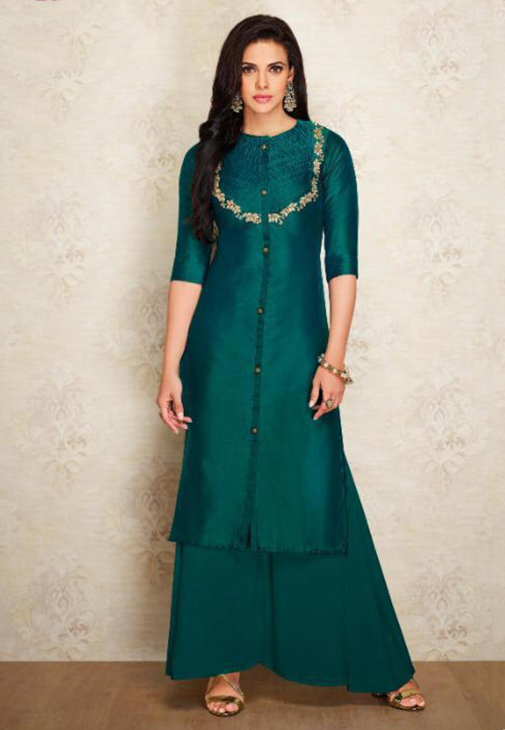 Green Colour Silk Indian Designer Kurti.