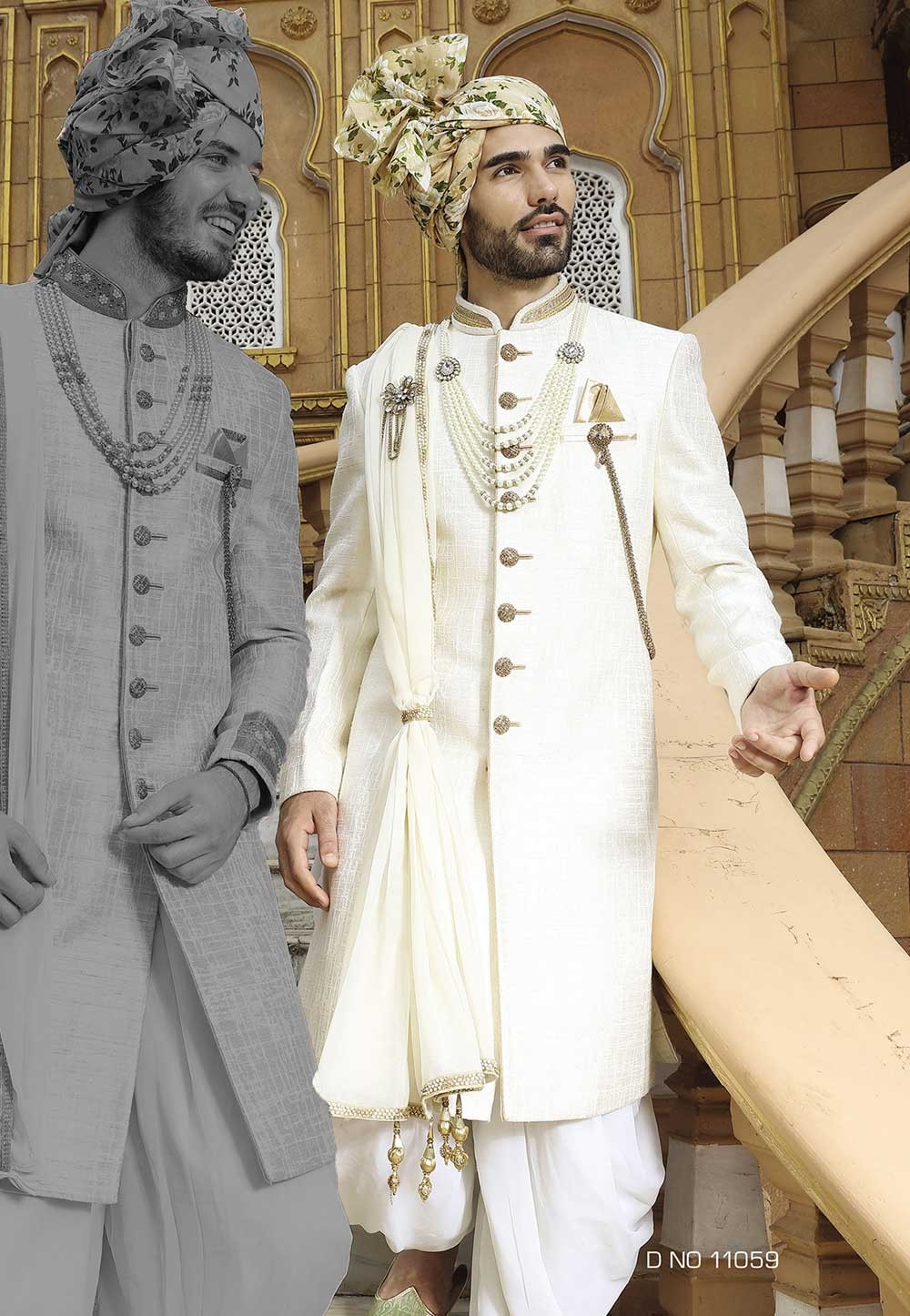 Cream Color Sherwani.