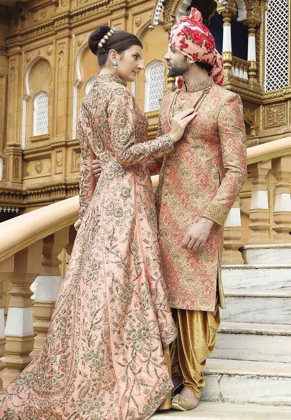 Golden Color Indian Designer Sherwani.