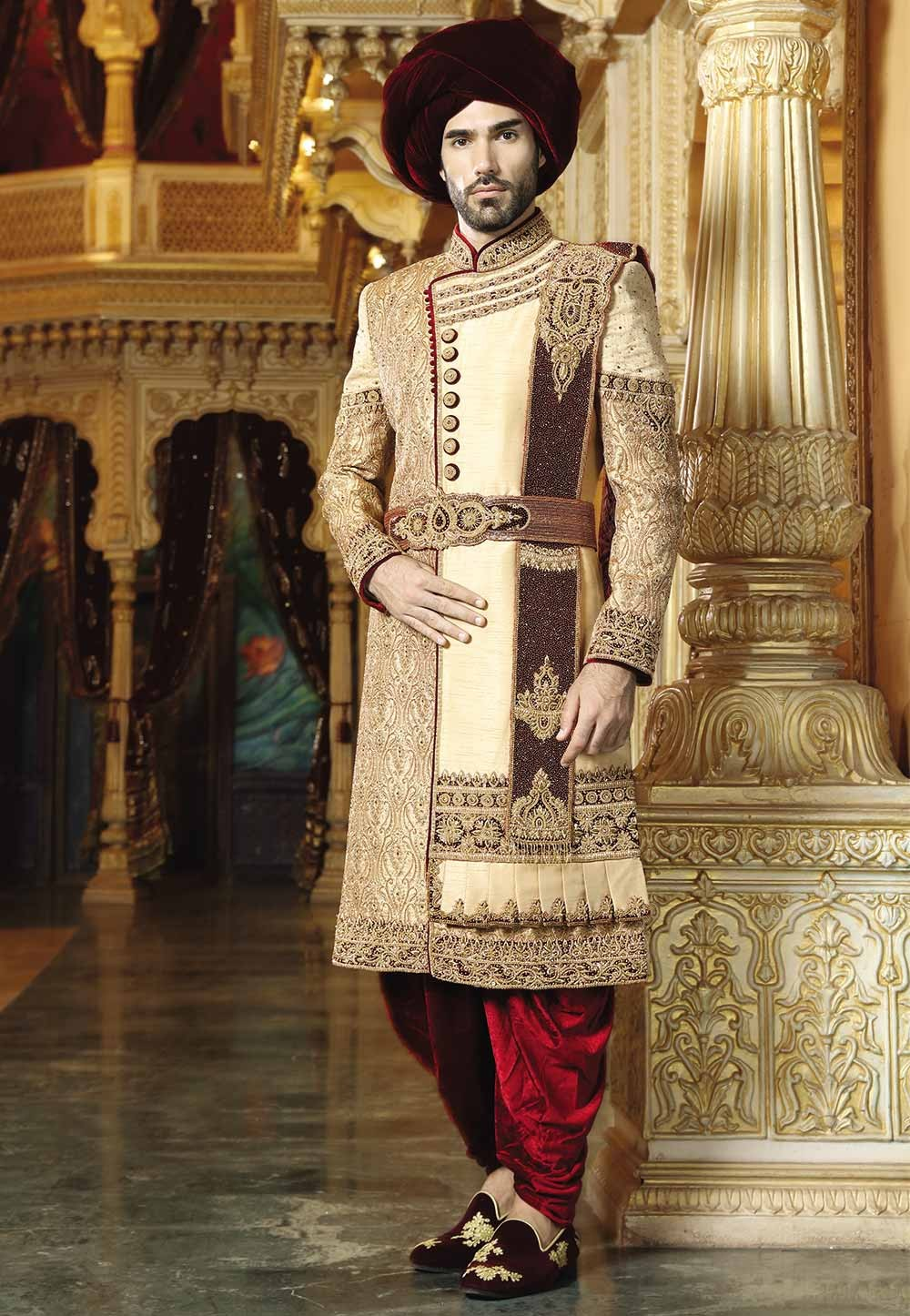 Golden,Maroon Color Groom Sherwani.