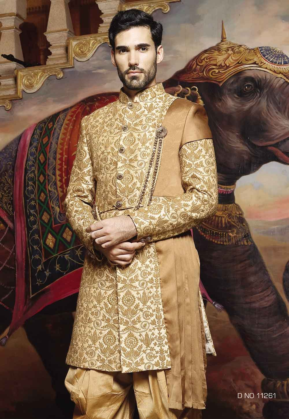 Golden Color Silk Sherwani.