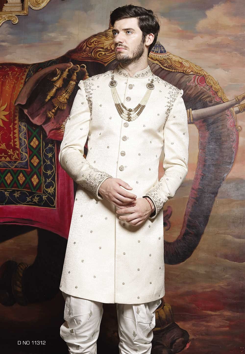 Off White Color Sherwani, Indo western suits for mens