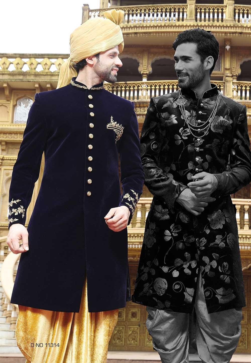 Blue Color Indian Sherwani, Indo western dresses for men