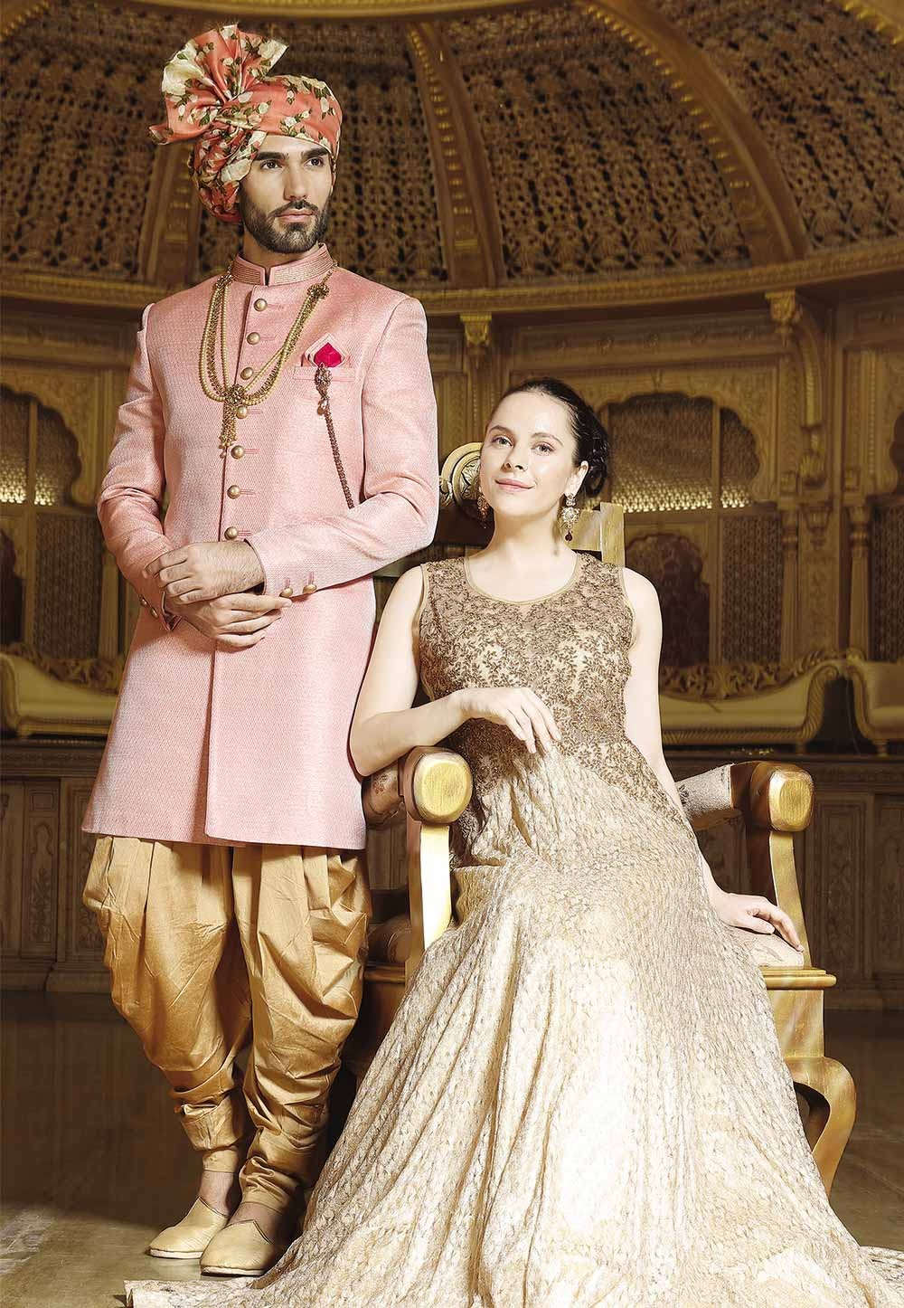 Pink Color Brocade Sherwani, Indo western dresses for men