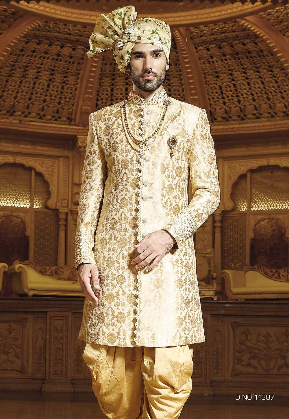 Buy sherwani online in Golden Color Indian style