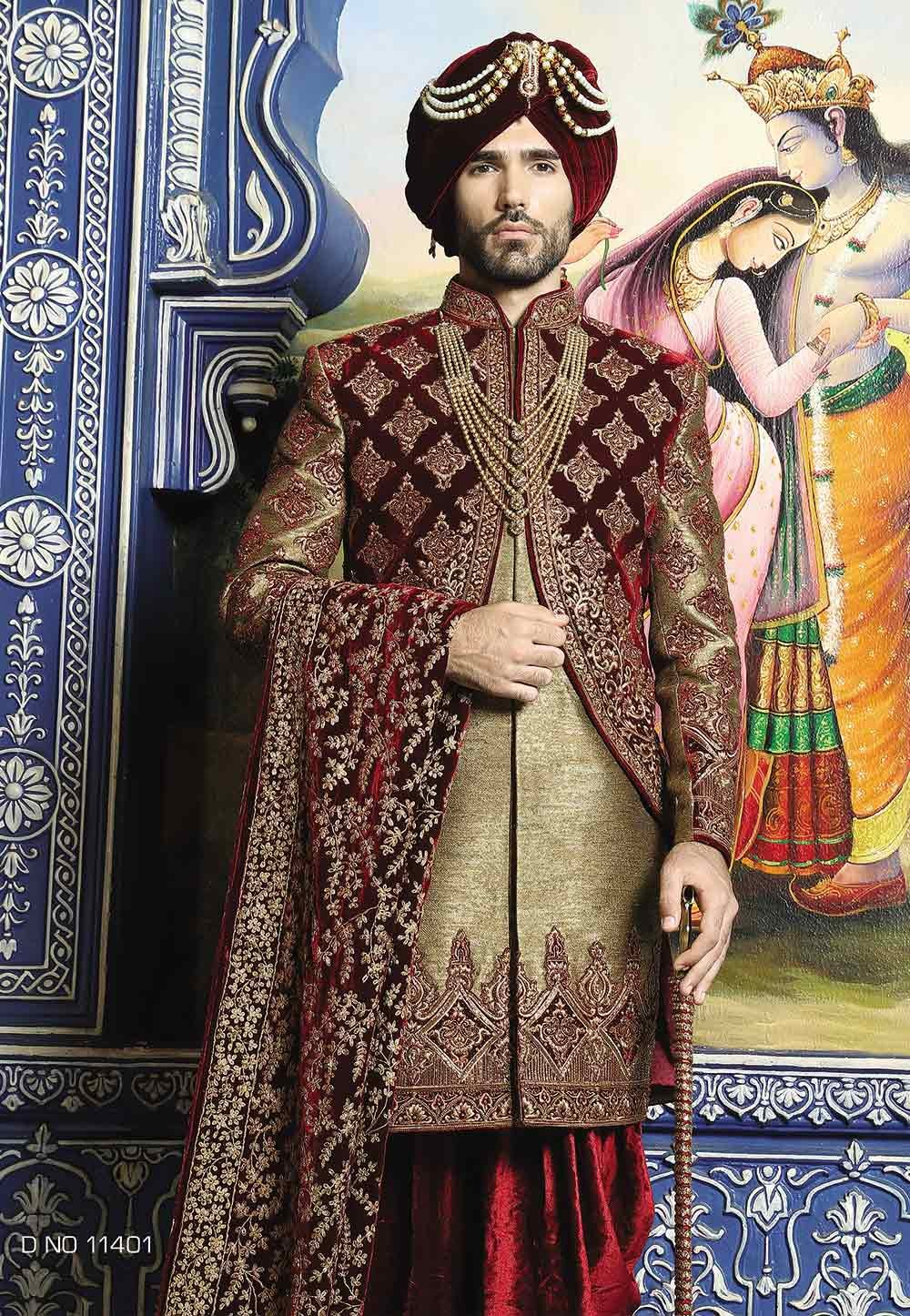 Antique Golden,Maroon Color Sherwani.