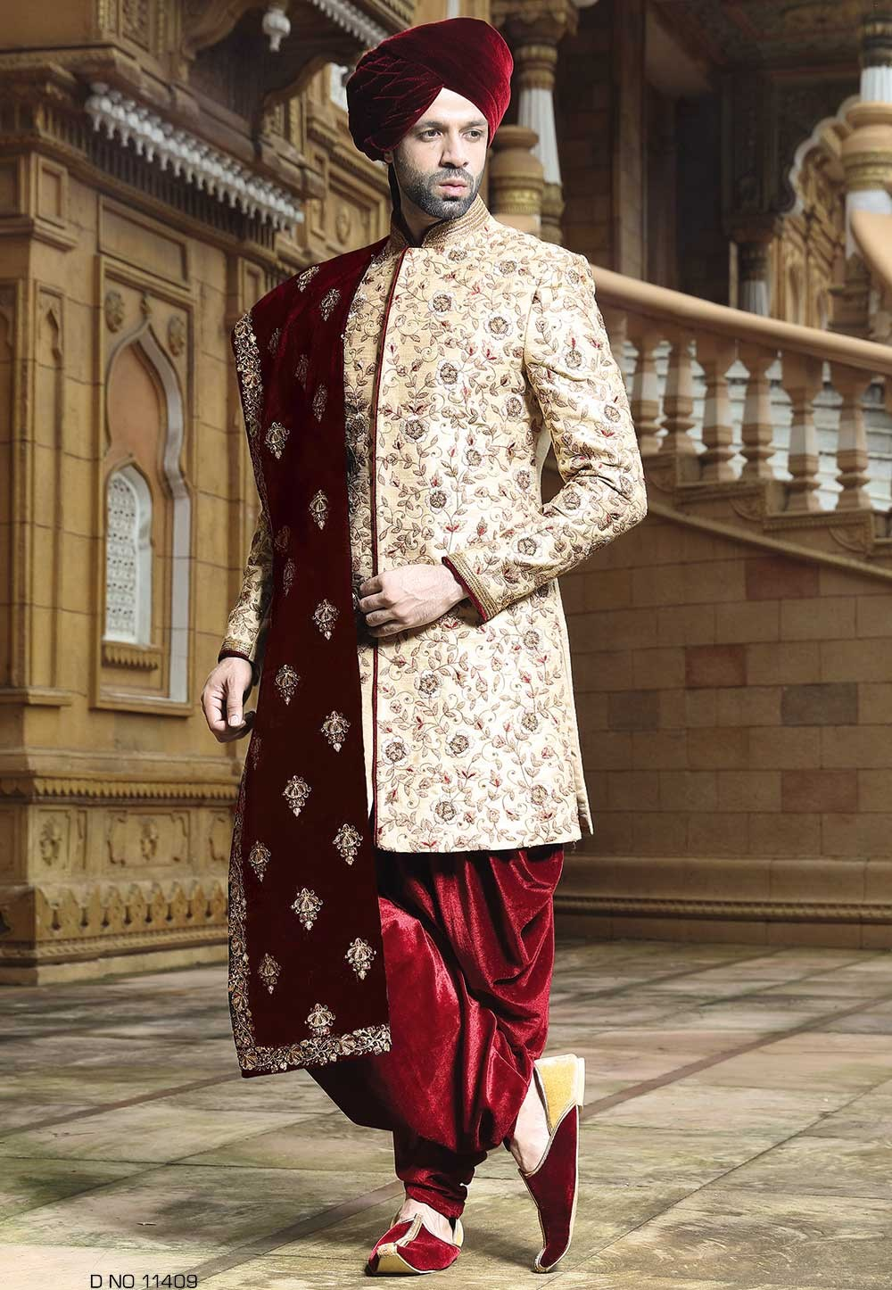 Buy designer sherwani in Golden Color for Indian Weddings
