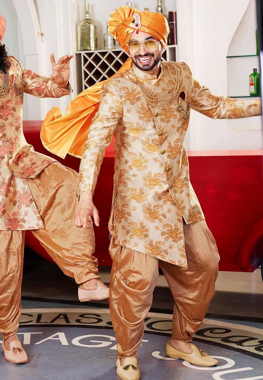 Golden Colour Designer Indowestern.