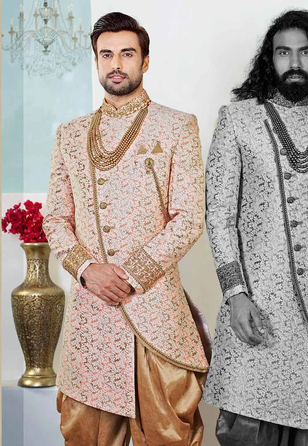 Golden,Maroon Colour Party Wear Indowestern.