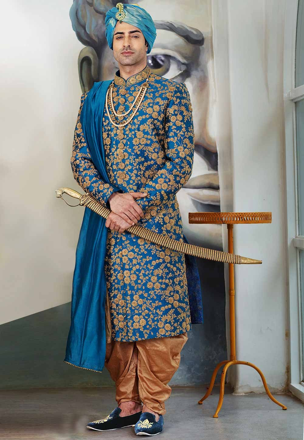 Buy designer sherwani in Blue Colour for men