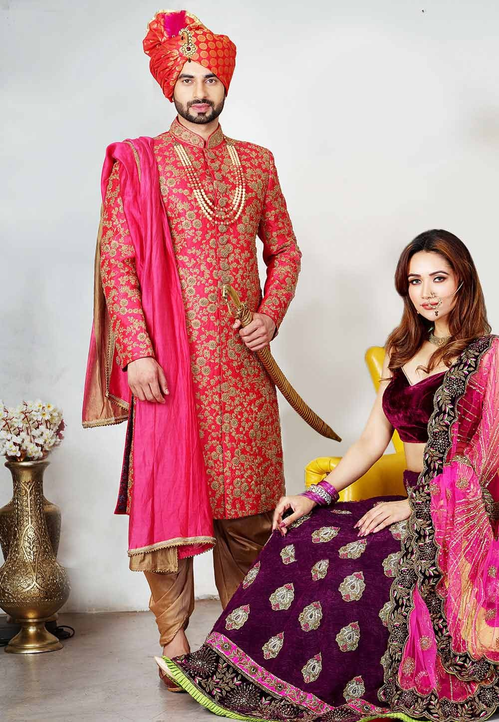 Red Colour Indian Wedding Sherwani.