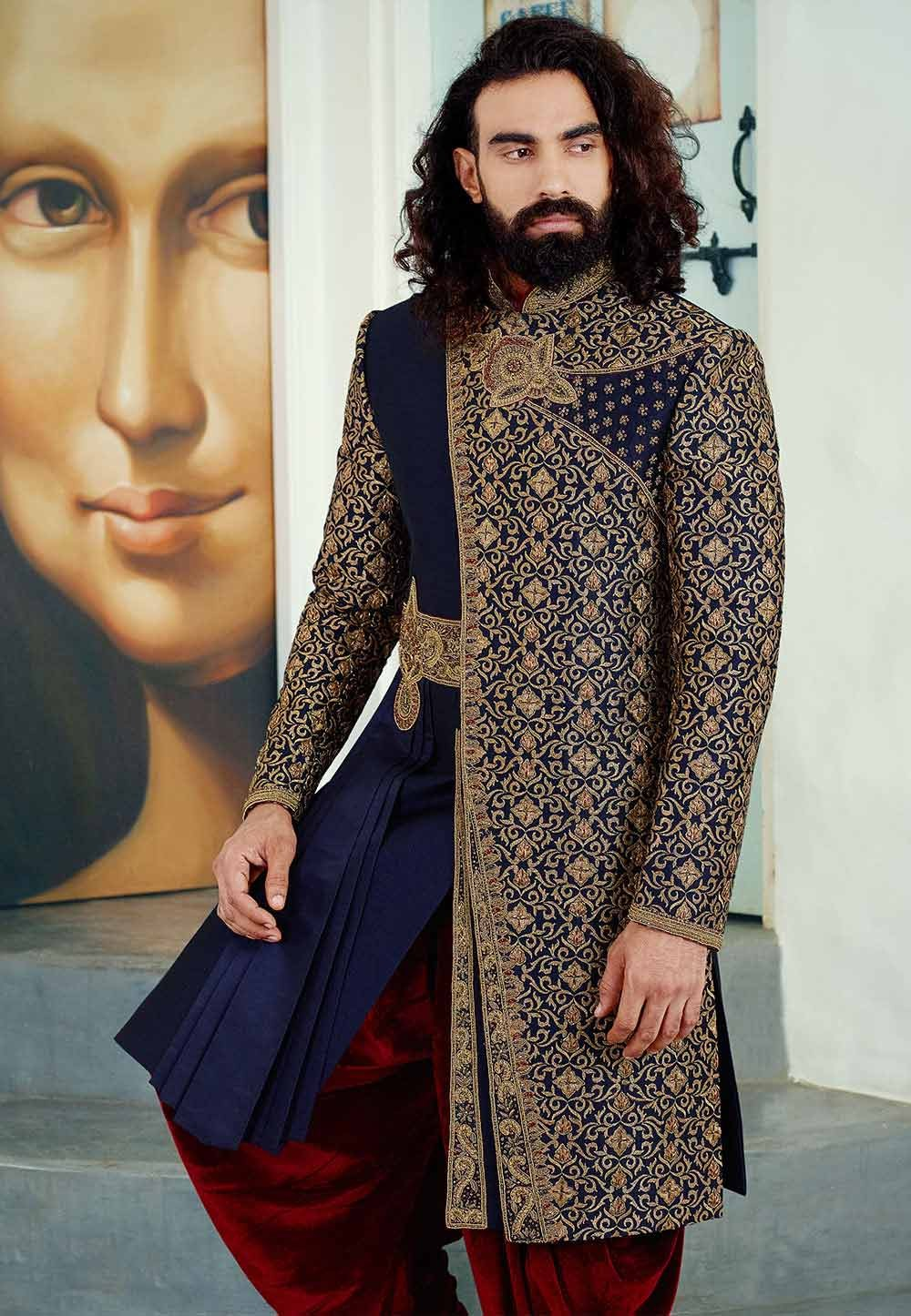Buy designer sherwani in blue colour for Royal Wedding