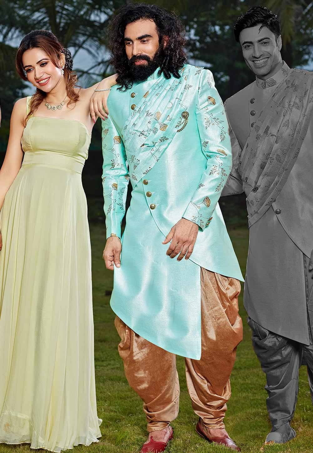 Turquoise Colour Silk Indowestern.