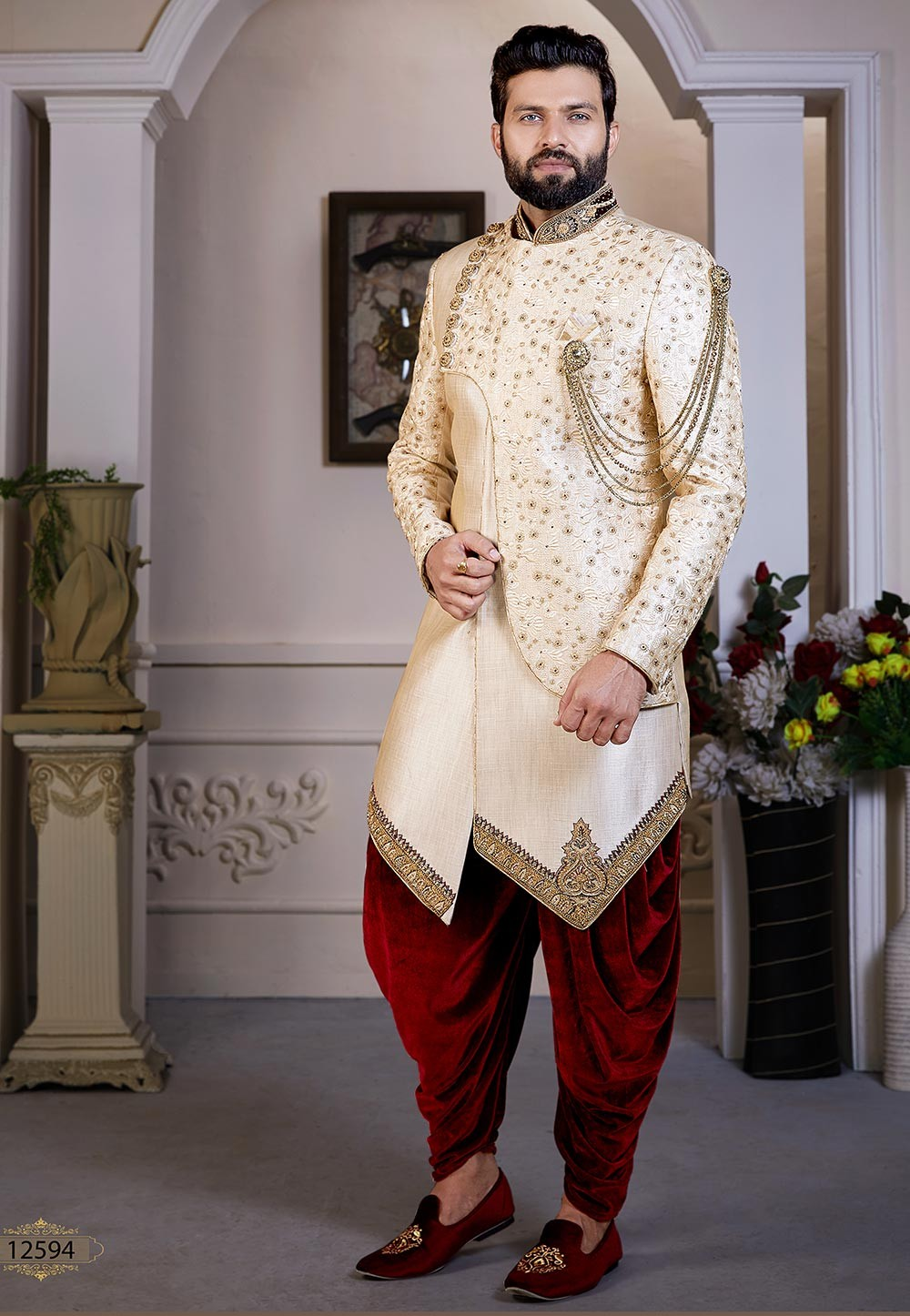 Indian Designer Wear Cream Colour.